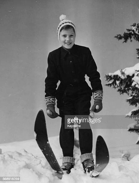 Portrait of Princess Benedikte of Denmark skiing during a trip to Norway March 10th 1954