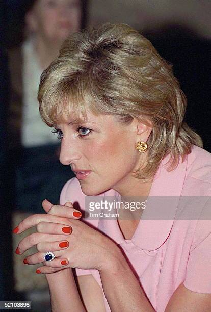 Portrait Of Princess Diana Looking Pensive Whilst Visiting The British American Benevolent Society During Her Official Tour Of Argentina
