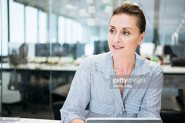 Portrait of professional businesswoman looking away, contented