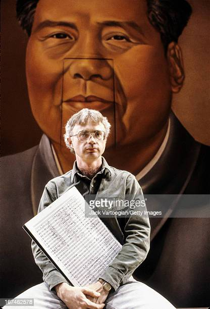 Portrait of Pulitzer Prize winning American composer John Adams on the set of his work 'Nixon in China' at the Brooklyn Academy of Music's Howard...