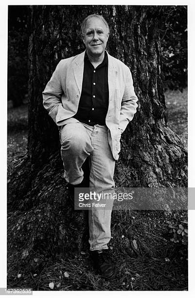 Portrait of Pulitzer Prizewinning American poet and US Poet Laureate Robert Hass as he leans against a tree Berkeley California 1999