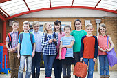 Portrait Of Pupils In School Playground