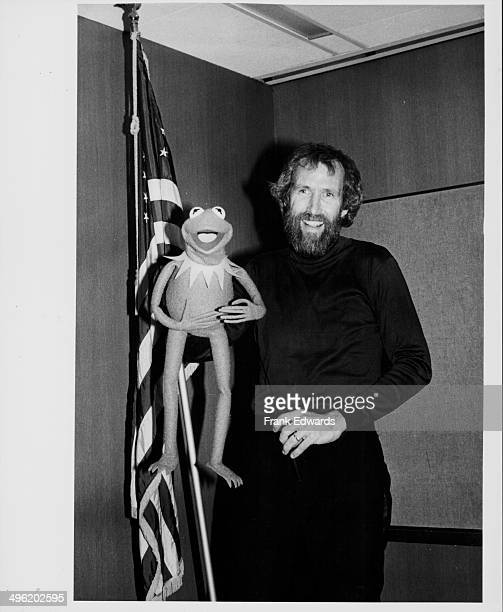 Portrait of puppeteer Jim Henson and his puppet Kermit the frog at the Pasadena Public Auditorium for a fund raising benefit for the US Olympic Team...