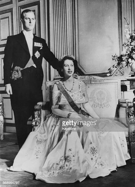 Portrait of Queen Elizabeth II and Prince Philip the Duke of Edinburgh circa 1952