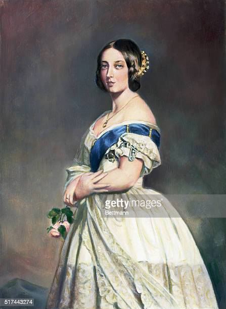Portrait of Queen Victoria painted by Winterhalter painted shortly after her ascension to the throne in 1837