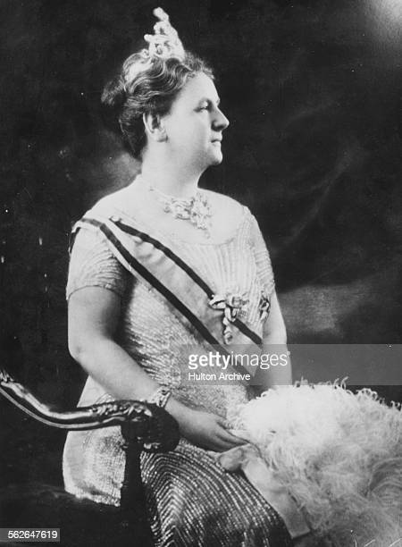 Portrait of Queen Wilhelmina of the Netherlands wearing a sash and crown circa 1940