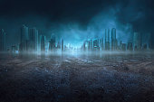 Portrait of quiet and dark scene on the arid city