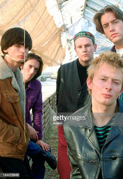Portrait of Radiohead photographed in the early 1990's