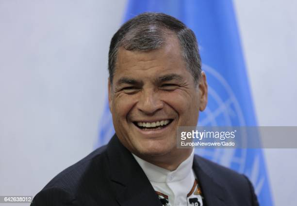 Portrait of Rafael Correa President of Ecuador at UN Headquarters in New York January 13 2017