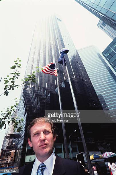 Portrait of real estate investor and businessman Donald Trump standing in front of the Trump Tower in New York New York June 14 1983