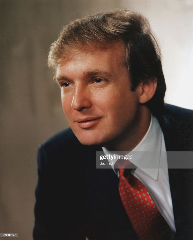 Portrait of real estate mogul Donald John Trump (b.1946), smiling slightly and facing to his right, 1983. New York.