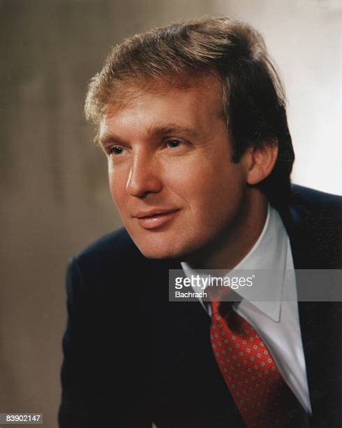 Portrait of real estate mogul Donald John Trump smiling slightly and facing to his right 1983 New York