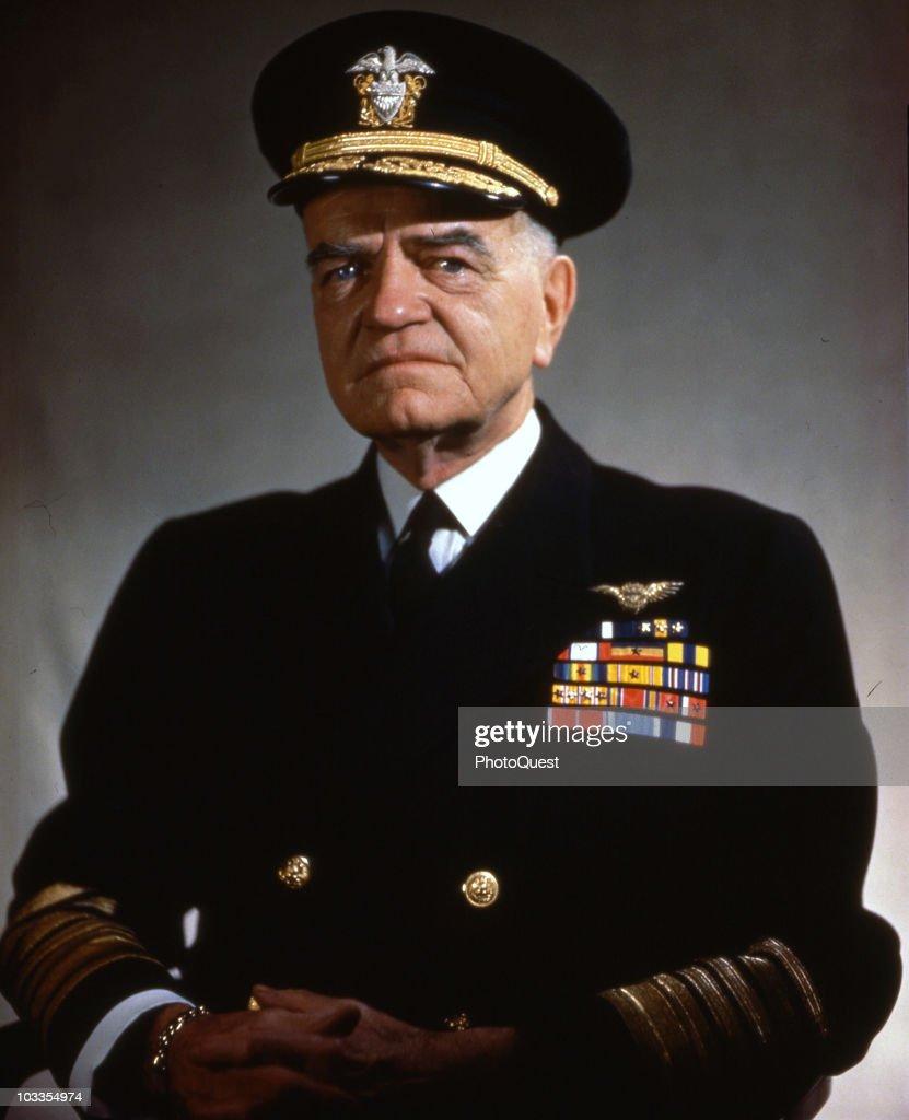 Portrait of Rear Admiral William F. Halsey (1882 - 1959), in military uniform, December 1945.