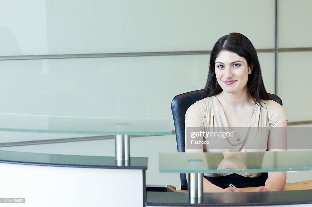 Portrait of receptionist smiling