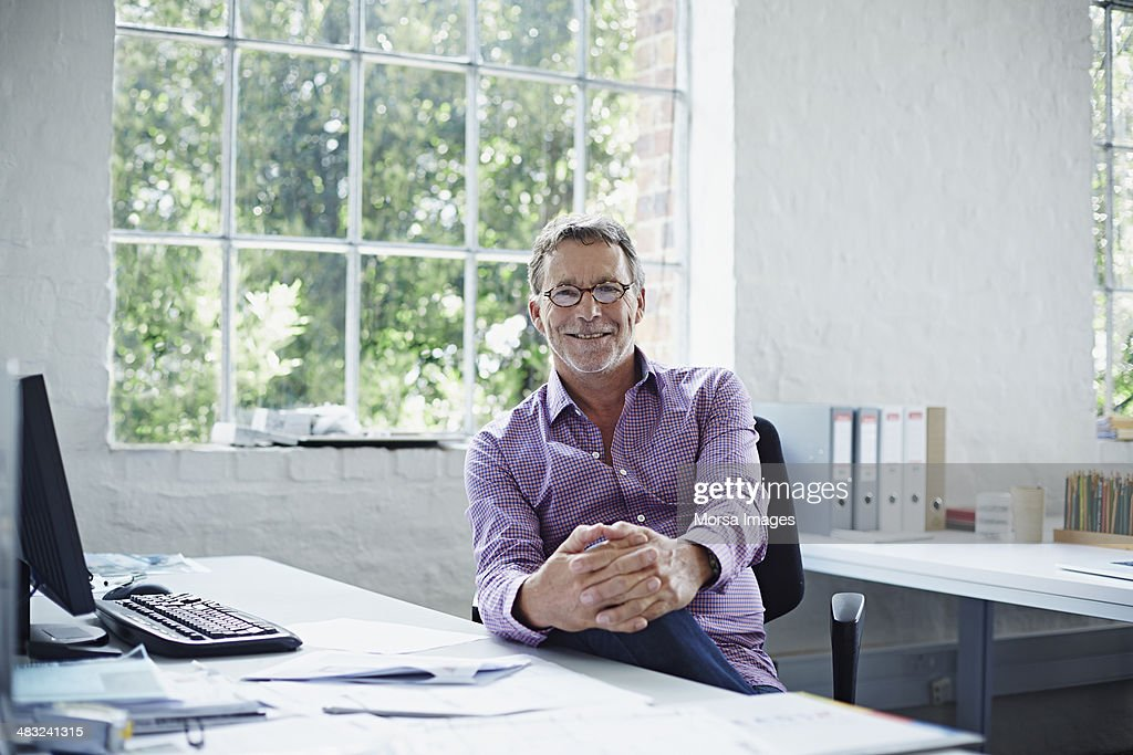 Portrait of relaxed business man