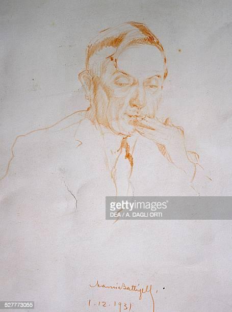 Portrait of Renato Simoni Italian journalist playwright theatre critic and director drawing dated December 1 1931 by Marina Battigelli Italy 20th...