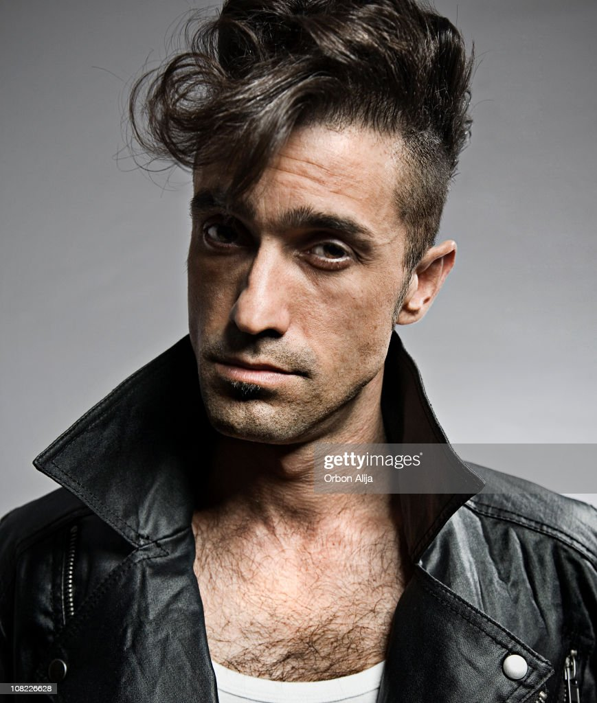Portrait of Retro Young Man Wearing Leather Jacket