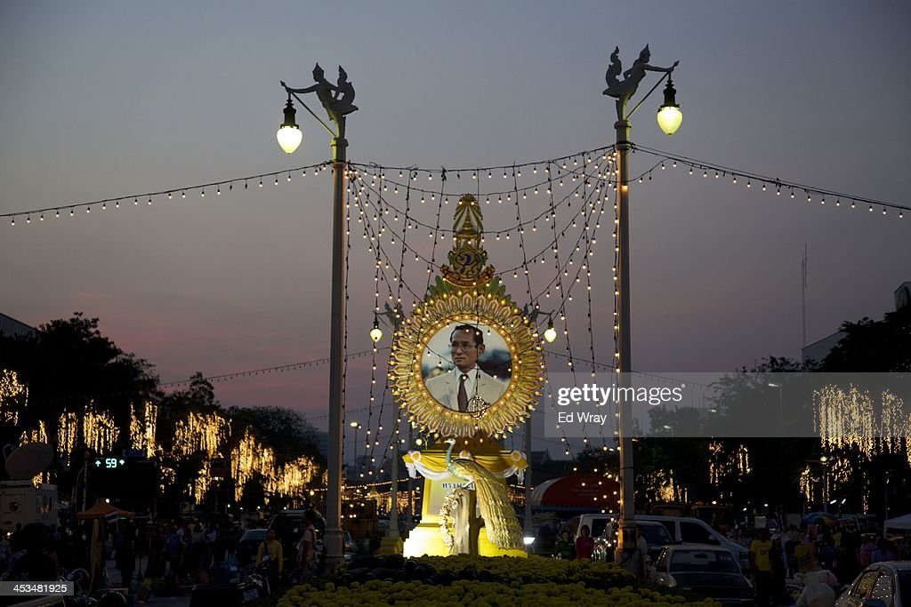 A portrait of revered Thai King Bhumibol Adulydej is displayed in a central part of the city being occupied by anti-government protesters December 4, 2013 in Bangkok, Thailand. Tension between anti-government protesters and police have largely calmed after days of violent clashes in advance of the Thai King's birthday.
