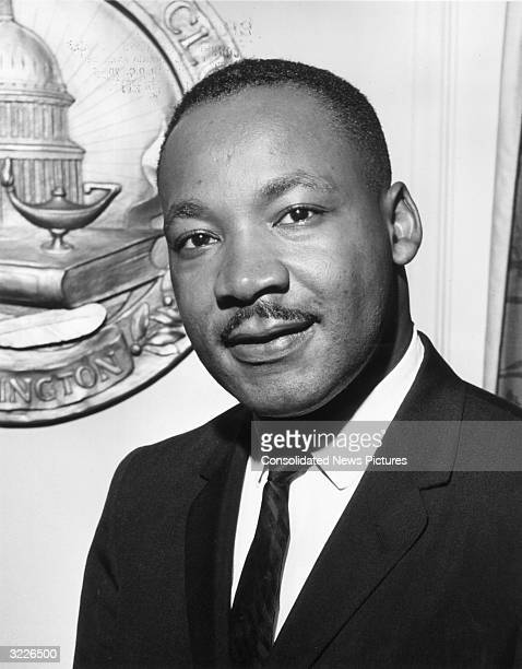 Portrait of Reverend Doctor Martin Luther King Jrat the National Press Club in Washington DC on July 19 1962
