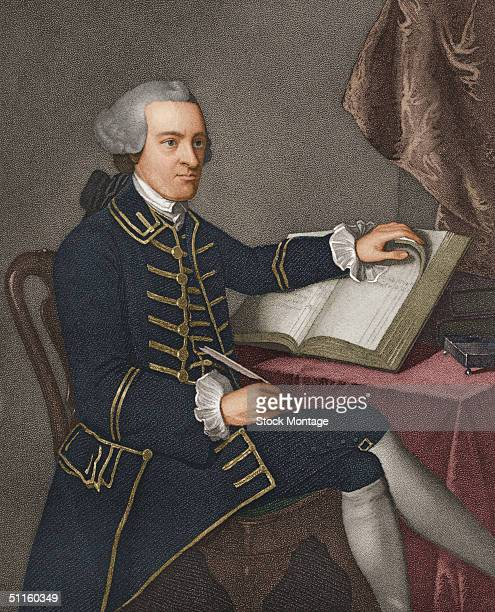 Portrait of rich American merchant revolutionary politician and first signer of the Declaration of Independence John Hancock as he sits in a chair...
