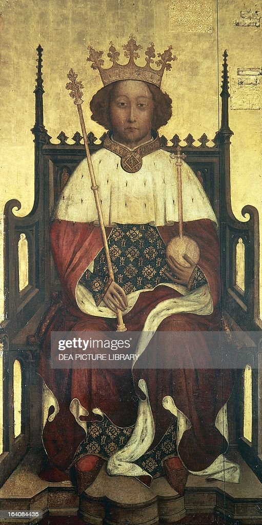 Portrait of Richard II (Bordeaux, 1367-Pontefract, 1400), King of England, painting by an unknown artist, 1390, oil on panel, Westminster Abbey, London.