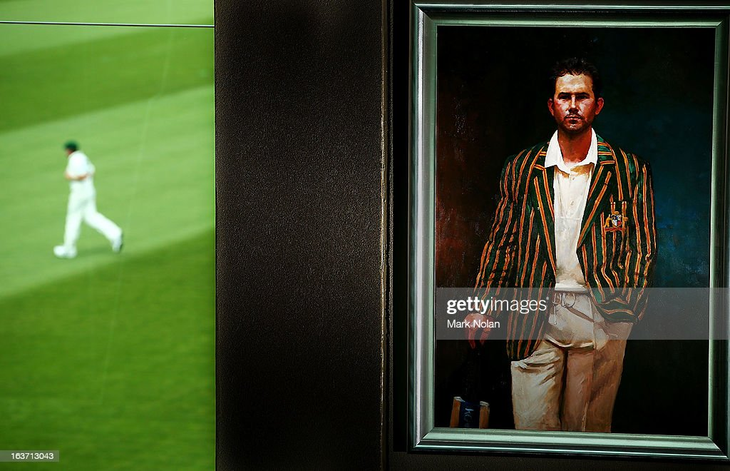 A portrait of <a gi-track='captionPersonalityLinkClicked' href=/galleries/search?phrase=Ricky+Ponting&family=editorial&specificpeople=176564 ng-click='$event.stopPropagation()'>Ricky Ponting</a> is displayed in the foyer of the Tasmanian Cricket Museum during day two of the Sheffield Shield match between the Tasmania Tigers and the Victoria Bushrangers at Blundstone Arena on March 15, 2013 in Hobart, Australia.