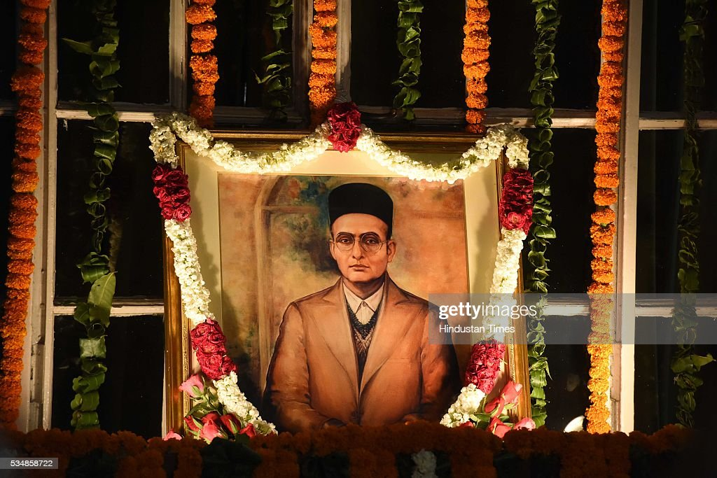 Portrait of right-wing ideologue Veer Savarkar on his 133 birth anniversary, at Central Hall of Parliament House, on May 28, 2016 in New Delhi, India. Born on May 28, 1883 in Nashik in Maharashtra, Vinayak Damodar Savarkar, later known as Swatantraveer Savarkar, was a revolutionary and Hindu nationalist who was imprisoned by the British in the Cellular Jail in Andaman and Nicobar Islands.