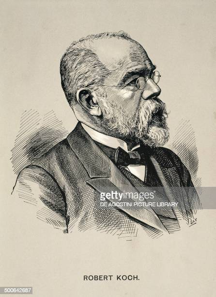Portrait of Robert Heinrich Herman Koch German physician bacteriologist and microbiologist discoverer of the tubercle bacillus engraving