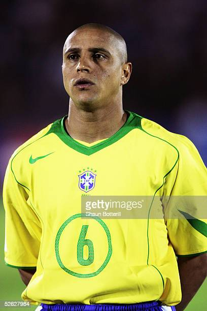 A portrait of Roberto Carlos of Brazil prior to the 2006 World Cup Qualifier South American Group match between Uruguay and Brazil at the Centenario...