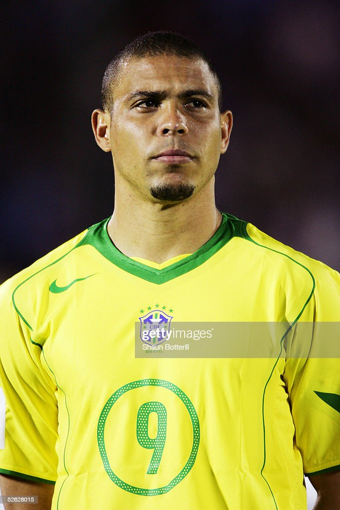 A portrait of Ronaldo of Brazil prior to the 2006 World Cup Qualifier South American Group match between Uruguay and Brazil at the Centenario Stadium on March 30, 2005 in Montevideo, Uruguay.