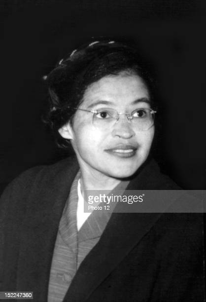 Portrait of Rosa Parks who organized the boycott of buses in Montgomery Alabama 20th century United States New York Schomburg Center