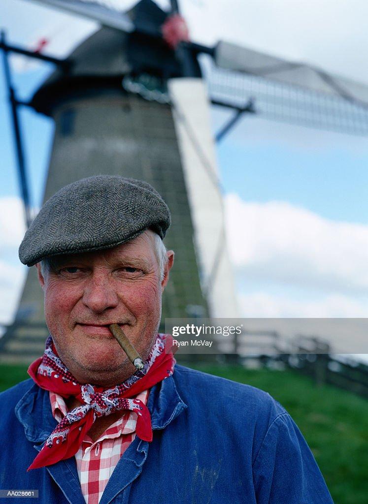 Portrait of Rotterdam Farmer with Cigar : Stock Photo