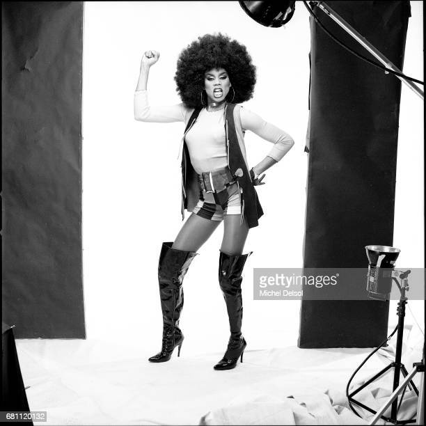 Portrait of Ru Paul talk show host drag queen actor and television personality impersonating Foxy Brown blaxploitation character New York City New...