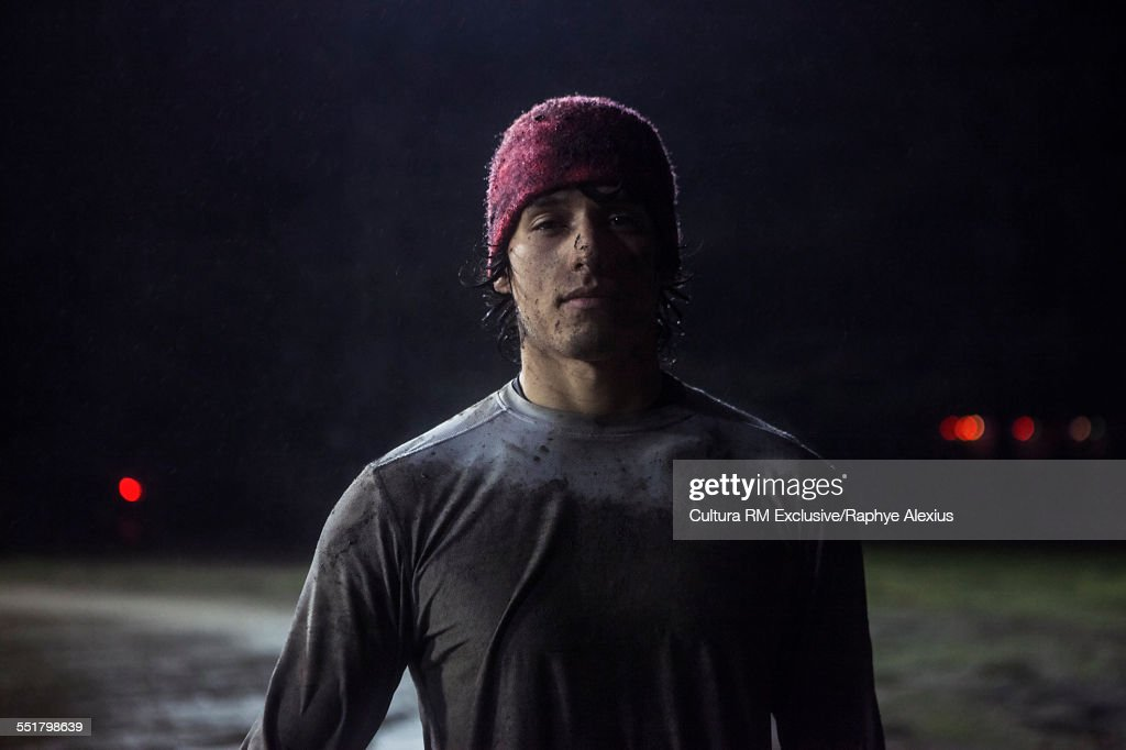 Portrait of rugby player on field