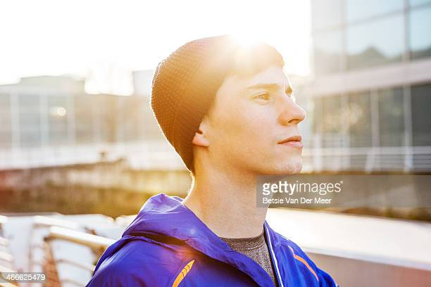 Portrait of runner backlight wintersun.