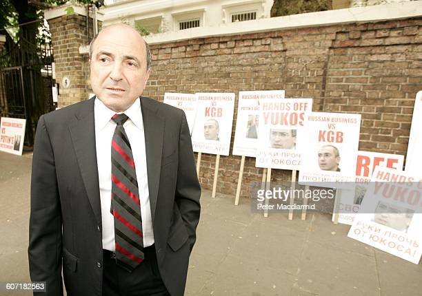 Portrait of Russian businessman Boris Berezovsky as he stands in front of the Russian embassy London England May 26 2004