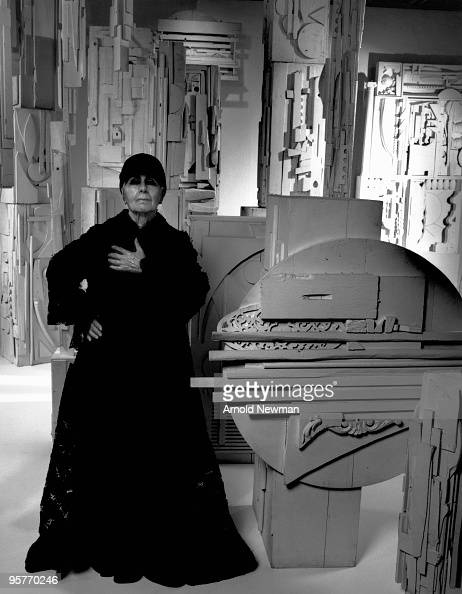 Portrait of Russianborn American sculptor Louise Nevelson as she poses with a number of her works in her studio New York New York August 29 1972