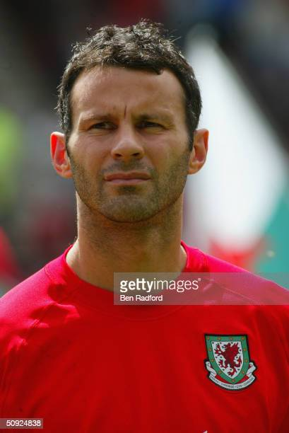 Portrait of Ryan Giggs of Wales prior to the international friendly match between Wales and Canada at the Racecourse Ground on May 30 2004 in Wrexham...
