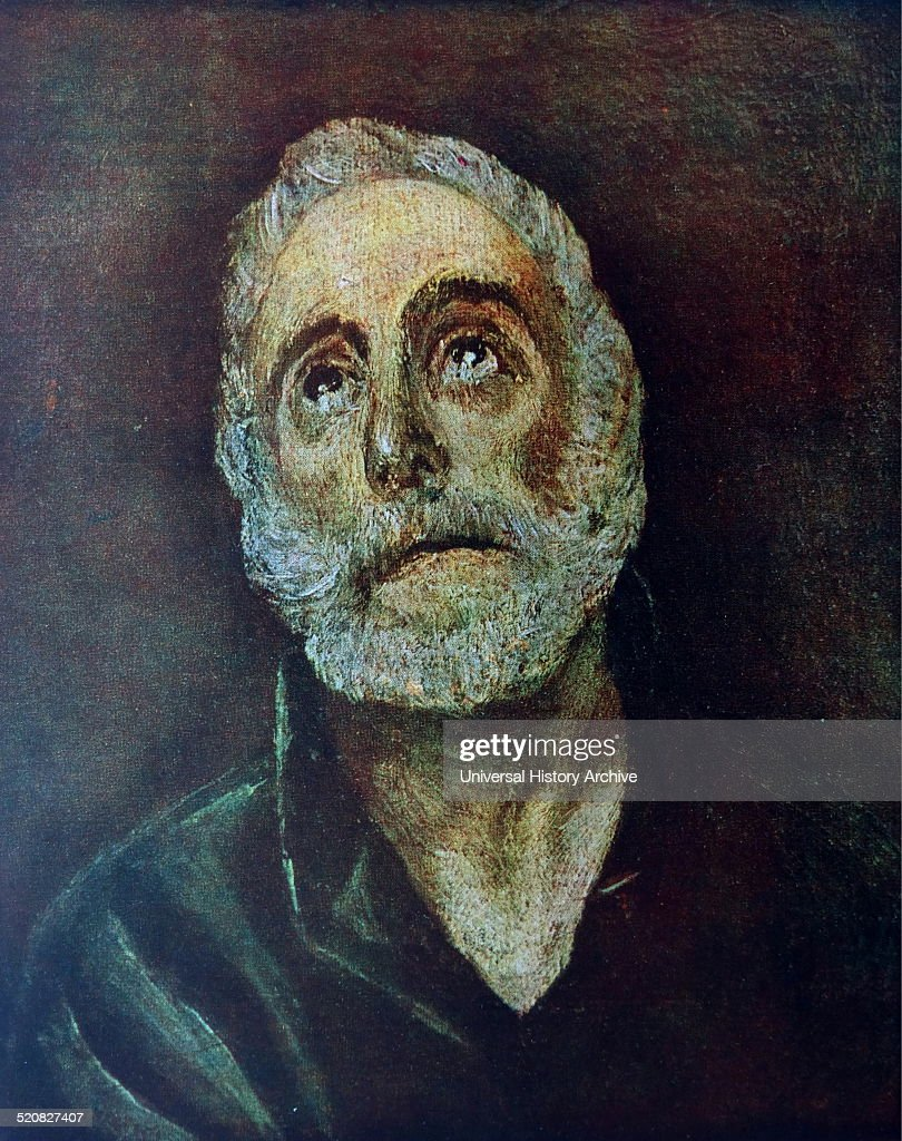 Portrait of Saint Peter one of the Twelve Apostles of Jesus Christ and leader of the early Christian Church. Painted by El Greco (1541-1614) born Doménikos Theotokópoulos, was a painter, sculptor and architect of the Spanish Renaissance. Dated 16th Century.