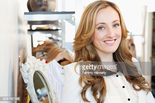 Portrait of sales clerk : Stockfoto