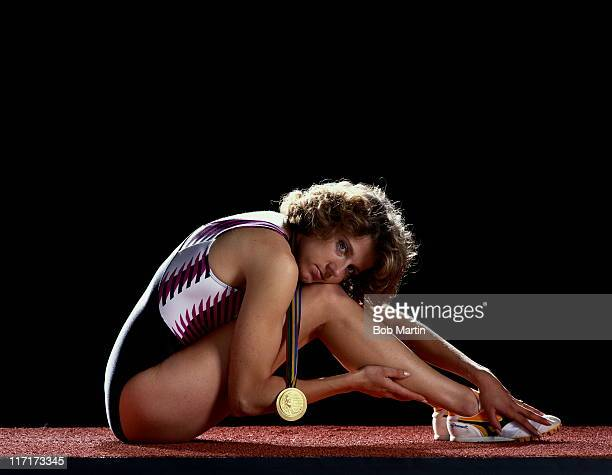A portrait of Sally Gunnell of Great Britain the OlympicWorld European and Commonwealth Women's 400 metre Hurdles champion on 1st October 1992 at the...