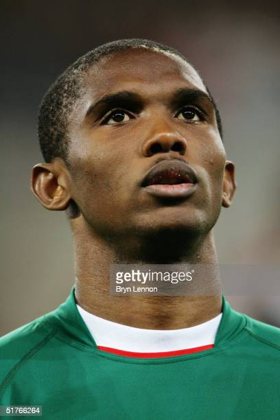 A portrait of Samuel Eto'o of Cameroon prior to the international friendly between Germany and Cameroon at Zentralstadion Leipzig on November 17 2004...