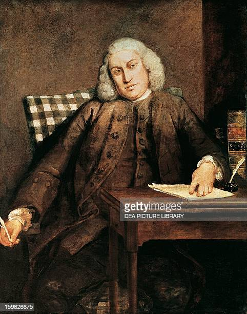 Portrait of Samuel Johnson English poet Oil on canvas by Joshua Reynolds 17561757 1275 x1016 cm London National Portrait Gallery