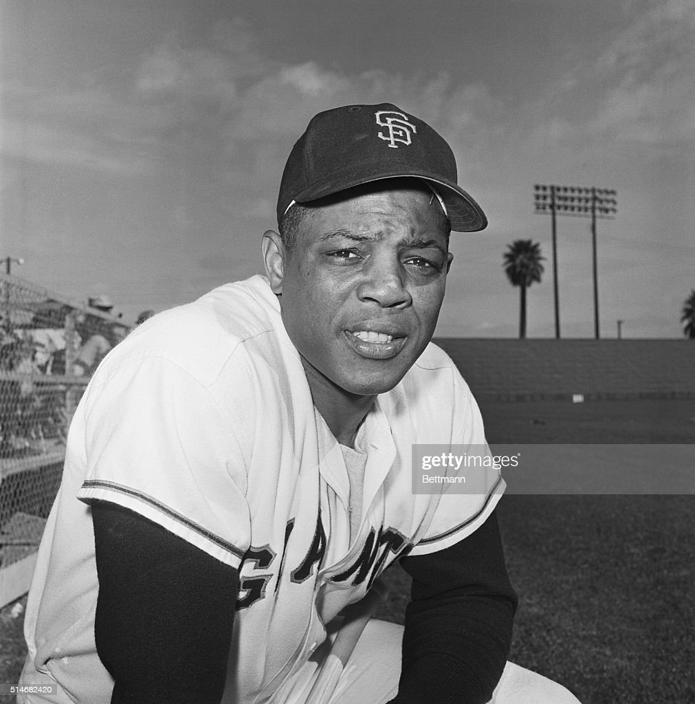 Portrait of San Francisco Giants outfielder Willie Mays in uniform at Spring Training. Spring 1961.