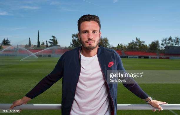 A portrait of Saul Niguez of Club Atletico de Madrid during a photo shoot at the club's Ciudad Deportivo Wanda training grounds on September 25 2017...