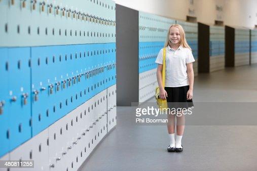 Portrait of schoolgirl in corridor