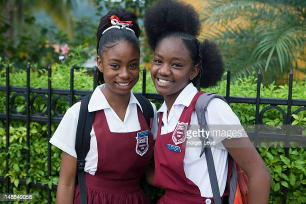 Portrait of schoolgirls with hip hairstyles.