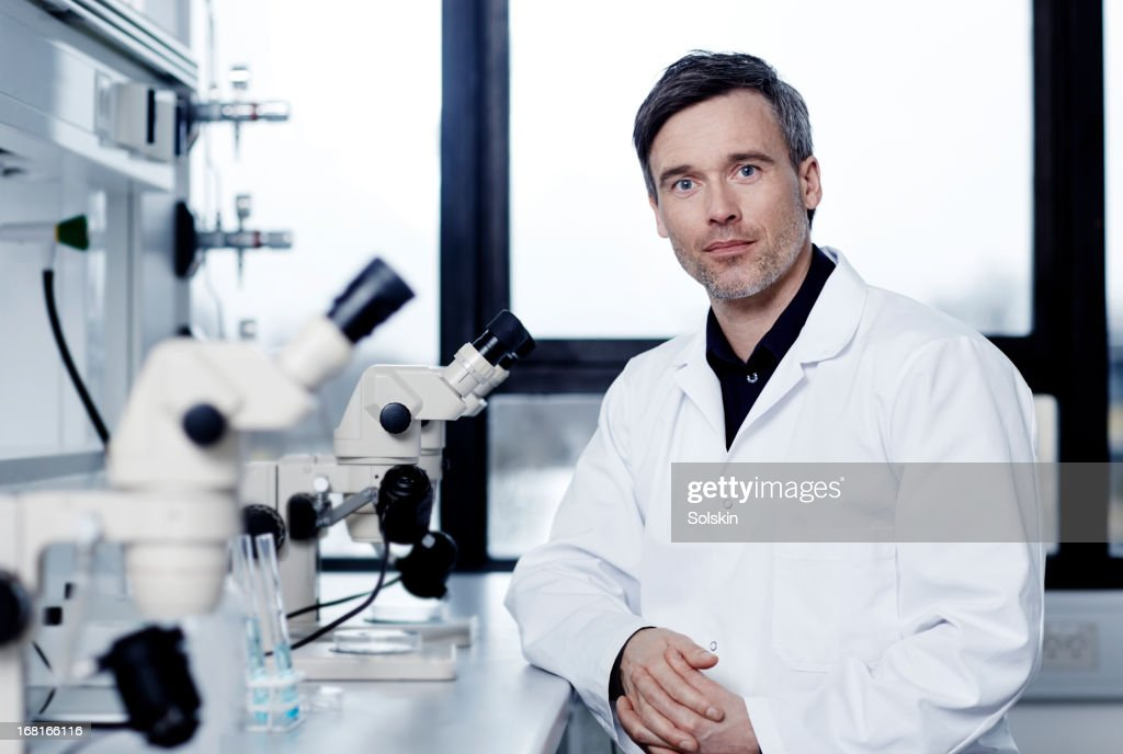 Portrait of scientist in laboratory : Stock Photo