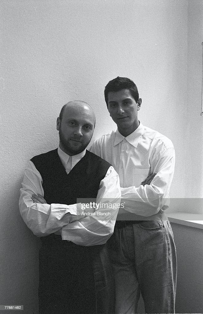 Portrait of Scilian-born Italian fashion designer Domenico Dolce (left) and Italian fashion designer Stefano Gabbana, of Dolce & Gabbana, mid 1990s.