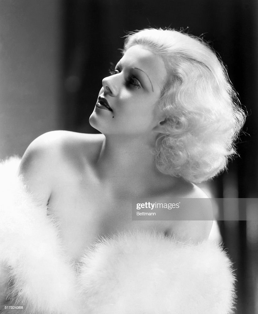 Portrait of screen siren Jean Harlow with fur wrapped around her bare shoulders Undated photograph BPA2 MetroGoldwynMayer